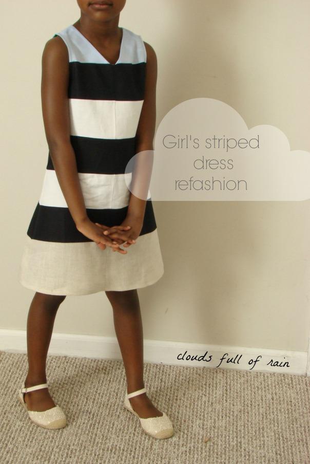 Girl's striped dress refashion